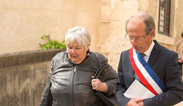 Le maire accueillant Jacqueline Gourault le 3 mai 2019